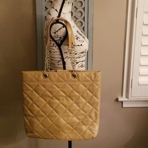 Talbots Quilted Leather Tote, Gold Chain Handles